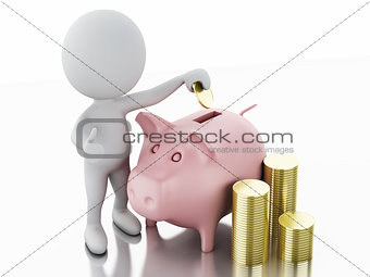 3d white people with piggy bank and stacks of gold coins