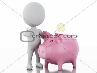 3d white people with piggy bank