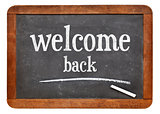 Welcome back sign on blackboard
