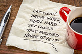healthy lifestyle tips on napkin