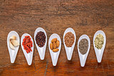 superfood grain, seed, berry and nuts abstract
