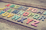 Colorful wooden English alphabets