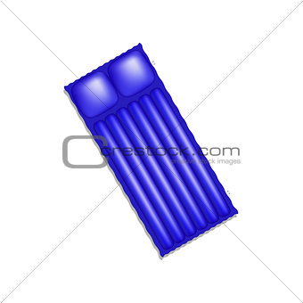 Air mattress in blue design with shadow