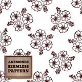 Seamless pattern with bouquet of anemones