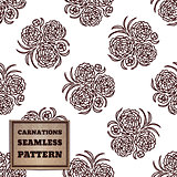 Seamless pattern with bouquet of carnations