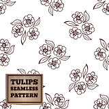 Seamless pattern with bouquet of tulips