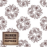 Seamless pattern with bouquet of irises