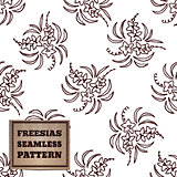 Seamless pattern with bouquet of freesias