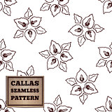 Seamless pattern with bouquet of callas