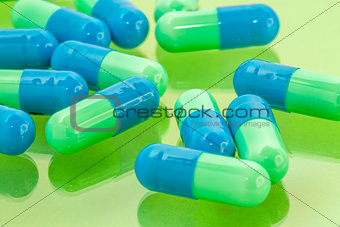 blue and green pills