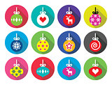 Christmas ball, Christmas bauble flat design icons