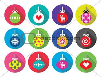 Christmas ball, Christmas bauble flat design icons