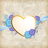 Golden heart and blue flowers