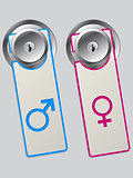 Door labels with male and female symbol