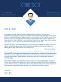 Cover letter design with blue white colors