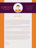 Cover letter design with orange purple colors