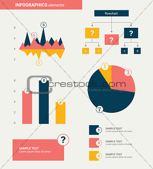 Flat minimalistic infographics elements. Vector design.