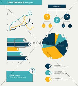 Flat minimalistic infographics elements. Vector design.