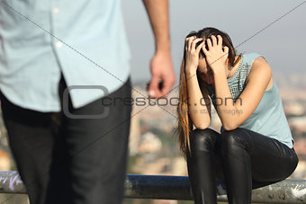 Breakup of a couple with bad guy and sad girlfriend