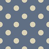 Tile vector pattern with grey polka dots on pastel blue background