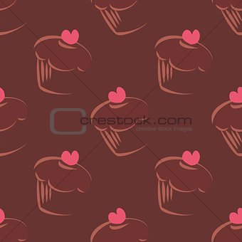 Tile vector pattern with cupcakes on brown background