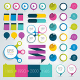 Big set infographics flat design elements, schems, charts, buttons. Vector illustration.