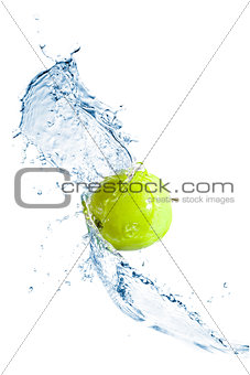 Green apple with water splash, isolated