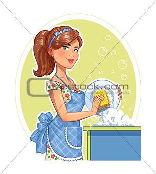 Beautiful girl washing plate.