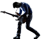 man electric guitarist player playing silhouette