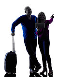 couple senior travelers traveling silhouette
