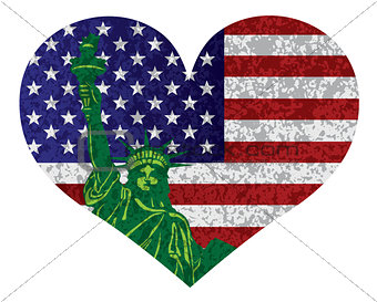 4th of July Heart Flag and Statue of Liberty