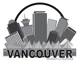 Vancouver BC Canada Skyline Circle Grayscale Illustration