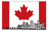 Vancouver BC Canada Skyline in Canadian Flag Illustration