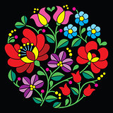 Kalocsai embroidery - Hungarian round floral folk pattern on black