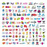 large set of vector logos shopping