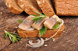delicate spicy herring with fresh rye bread