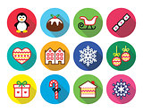 Christmas, winter flat design icons - penguin, Christmas pudding