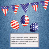 American bunting and balloons on denim background with text