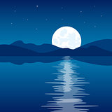 Reflection of the moon in water