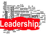 Leadership word cloud with red banner