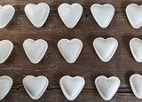 Uncooked ravioli hearts