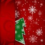 Christmas tree horizontal postcard