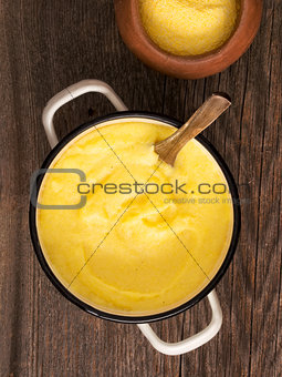 pot of rustic cooked italian polenta