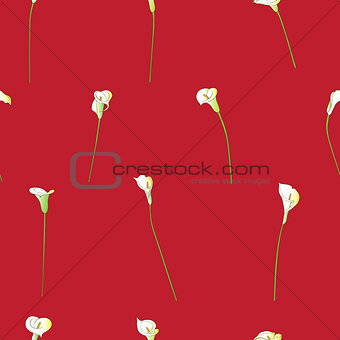 calla sparse pattern on red
