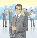 Vector businessman and silhouettes of business people