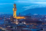 Palazzo Vecchio at twilight in Florence, Italy