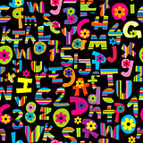 Alphabet set and numbers seamless background