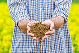 Farmer Checking Soil Quality of Fertile Agricultural Farm Land