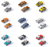 Vector isometric SUVs set