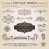 Calligraphic elements vintage Congratulation ribbon. Frame
